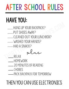 Free Printable After School RulesYou can find Charts for kids and more on our website.Free Printable After School Rules Parenting Teens, Parenting Advice, Single Parenting, Kids School Organization, Organizing Ideas, Christian Parenting Books, Dad Advice, Kids Schedule, Summer Schedule