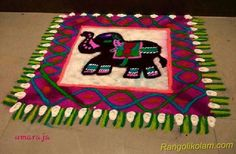 Elephant rangoli by Umaraja. Rangoli Ideas, Kolam Rangoli, Rangoli Colours, Beautiful Rangoli Designs, Simple Rangoli, Diwali, Flower Art, Art Designs, Festivals