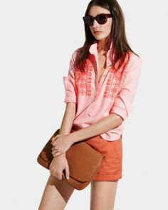 "jcrew.com embroidered neon stripe popover and 3"" chino shorts. #preppychic #methodhome"