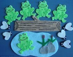 Five Green Speckled Frogs Children's Flannel Board Felt Set. $8.00, via Etsy.