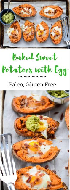 Baked Sweet Potatoes with Egg - a super healthy and hearty breakfast that will keep you full until lunch. {paleo, whole30, gluten free}