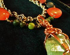 Emerald Calcite, Turquoise and Picasso Jasper Statement Necklace