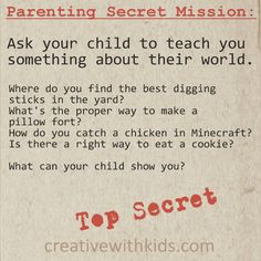 Parenting Secret Mission – Your Child's World
