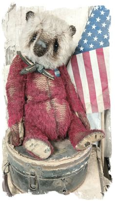 "Image of JUMBO Old & Worn RED & CReAm MOHAIR SAILOR Bear -14.5""  By Whendi's Bears"