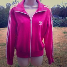 Adidas Jacket   Pink and White Adidas fleece lined zip-up jacket, like new. Thanks for looking!  Adidas Jackets & Coats
