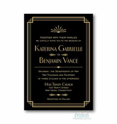 Art Deco Wedding Invitation - Bridal Shower Invite Gatsby Style Theme in Black and Gold or Black and White