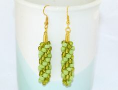 Lime green beaded Kumihimo drop earrings with gold-plated earwires on Etsy, $14.04