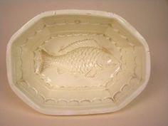 Antique 18th Century Creamware Pottery Fish Pudding Mold