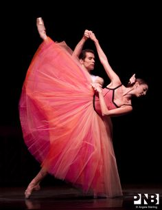 PNB Soloist Laura Gilbreath with Principal dancer Seth Orza in Christopher Wheeldon's Variations Sérieuses.