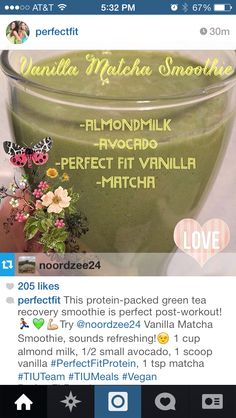 green tea recovery smoothie Perfect Fit Protein, Post Workout Smoothie, Matcha Smoothie, Vanilla Milk, Recovery, Avocado, Tea, Green, Food