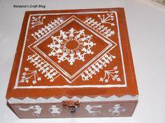 Warli design on a wooden box