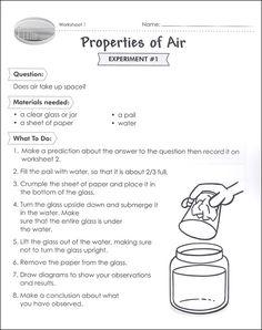 Properties of air worksheet