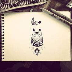 I'm in love! Mini Totoro tattoo design by Violette Chabanon, @violet_bleunoir on Instagram