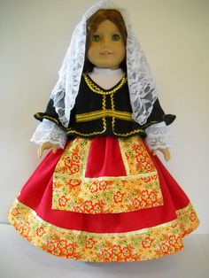 "Fits 18"" American Girl doll Italy Italian folk dress clothes K COSTUME ONLY"
