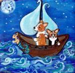 Harvest Moon Corgi | Sailing Under the Corgi Moon 8x8