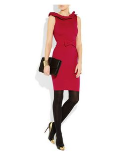 #RED #VALENTINO Ruffled stretch-crepe #dress with Mallarino #earrings, Roberto #Cavalli cuff, Kenneth Jay #Lane #ring, Wolford tights, Christian #Louboutin #shoes, Alexander #McQueen #clutch. Elegant and cute! Love!