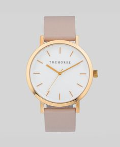 Classy. Polished rose gold / blush leather watch. By @mrandmrshorse