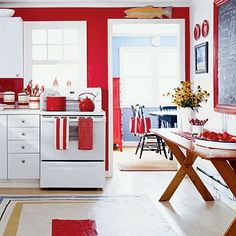 Want to try the red kitchen? How red is the red kitchen? The warmth of the red signal is fresh and delicious food. So, having a red kitchen accent or red kitchen wall isn't all that unusual. Red Kitchen Walls, Red And White Kitchen, Red Kitchen Decor, White Kitchen Cabinets, Kitchen Tiles, New Kitchen, Kitchen Colors, Kitchen Interior, Nautical Kitchen