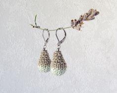 Earrings Blob, beige and pastel green Dangle Earrings, Unique Textile Jewelry, silver steel hoop drop ear hanger one of a kind, custom color by lesfrotteurs on Etsy