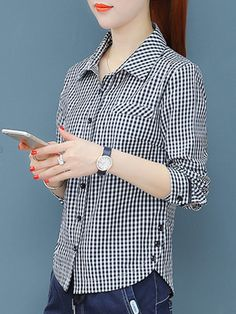 Turn Down Collar Decorative Buttons Checkered Blouses Dress Shirts For Women, Blouses For Women, Blouse Styles, Blouse Designs, Stylish Dresses, Fashion Dresses, Blouse Online, Dresses With Leggings, Shirt Blouses