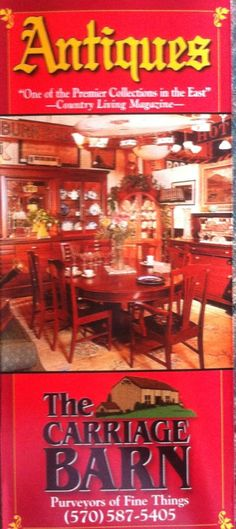 Terrific antique shop. Located about 15 minutes from Red Barn Village Bed and Breakfast.