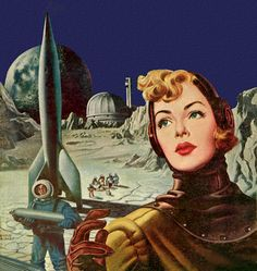 Breathing air is something girls can do without. Unreal | Moon Base, art by Earle Bergey. Detail from cover of Thrilling Wonder Stories - August 1951.