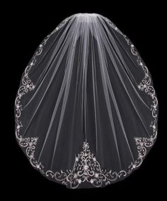 Sequin Flowers Embroidered Wedding Veil