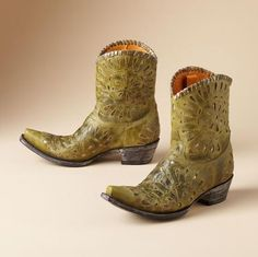"""Tears to swoon over, cut-out and inlaid on well-weathered leather. Painstakingly handmade by Old Gringo. Lacing rims the 8"""" shaft. 2-1/2"""" stacked heel, rounded toe on brown/turquoise"""