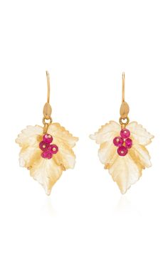 Shop Arragonite Fancy Leaf Earrings with Rubies. This collection by **Annette Ferdinandsen** puts a fresh and light twist on her classic organic, nature inspired aesthetic with summery pastel hues. Hanging Earrings, Leaf Earrings, Flora, Dangles, Bling, Fancy, Christmas Ornaments, Holiday Decor, Nature Inspired