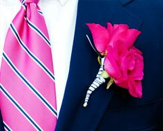 Navy And Hot Pink Wedding | pink_navy_boutonniere