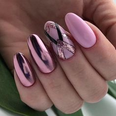 Pink Nails With Glitter Geometric Art Discover some fresh and adorable designs for oval nails. We have prepared a photo gallery full of new nail art ideas for you. Check it out! Best Nail Art Designs, Acrylic Nail Designs, Acrylic Nails, Oval Nail Designs, Chrome Nails Designs, Trendy Nail Art, Cool Nail Art, New Nail Art, Nagel Gel