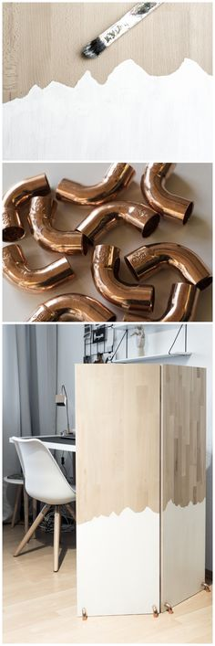 DIY Paravent Raumteiler Raumtrenner aus Massivholz mit Bergpanorama und Details in Kupfer || DIY mountain panorama room divider made of solid wood and copper details