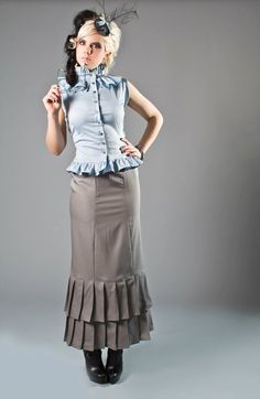 SALE Grey Neo-Victorian Skirt - Grey Wool Pleated Long Elegant Steampunk Skirt - SAMPLE Willow Riot Reform