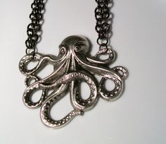 Gunmetal Octopus Necklace