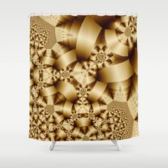 Golden shapes and patetrns in 3-D Shower Curtain