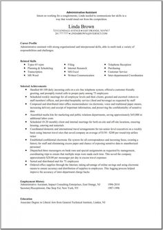 Executive Assistant Resume Template | Resume Template Ideas  Ideas For Resume