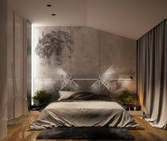 In this bedroom, darkness seems to be creeping in. Concrete walls and gray linens have a storm cloud aesthetic while soft lighting and some drapey curtains give its inhabitant a cautious welcome.