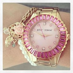 Watch - from: Betsey Johnson Jewelry Cute Jewelry, Jewelry Accessories, Fashion Accessories, Fashion Jewelry, Watch Accessories, Fashion Bags, Jewelry Bracelets, Stylish Eve, Fashion Watches