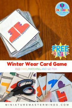 Free Printable Winter Wear Themed Card Game Old Maid, Matching, and Go Fish Lately, Lou has been crazy about card games. She got a few in her stocking at Christmas and we have been playing round af…