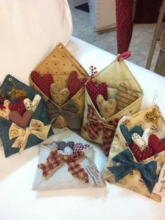 Prim inspired - homespun envelopes and hearts - perfect for any special occasion