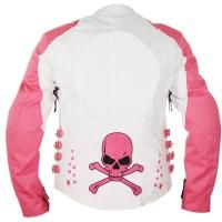 <b>Xelement 'Skull and Stars' Womens White/Pink Tri-Tex Armored Jacket</b><br><br>Combining ultimate protection and style with a price that can't be beat. Made of 100% Tri-Tex Fabric 680 Denier High Performance Breathable Fabric, this Xelement womens motorcycle jacket features reflective tribal embroidery, front and back reflective piping, a convenient two-layer lining system and removable CE-approved armor. Another awesome feature is the MP3 inte...