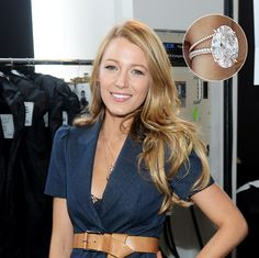 Blake Lively - $2.5M   For Blake Lively's gorgeous engagement ring, husband Ryan Reynolds chose a 12 carat oval-cut solitaire diamond set in 18k rose gold, made by Lorraine Schwartz. Both the ring's oval shape and rose gold setting are very on trend. The delicate band is set with micro pavé diamonds.