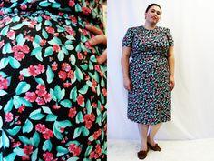 Plus Size  Vintage Black Floral Knit Shirt Dress by TheCurvyElle, $40.00