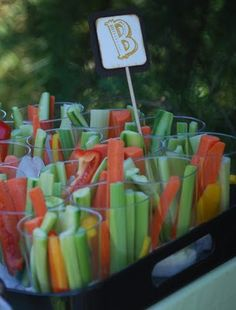 Individual serves of vege sticks and dip - nice party idea