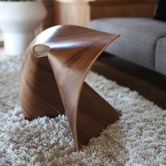 Fortune Cookie Stool Walnut by Po Shun Leong