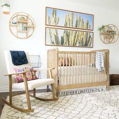 amazing neutral nursery by Kathryn Miller Interiors, cactus art, natural crib… Nursery Themes, Nursery Room, Girl Nursery, Kids Bedroom, Nursery Decor, Boho Nursery, Baby Boy Rooms, Baby Boy Nurseries, Baby Room