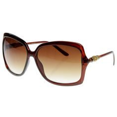 3fb8a558e06c Designer Inspired Butterfly Womens Oversized Sunglasses w  Bamboo Detail  Arms - Brown - C7116AZVEBT