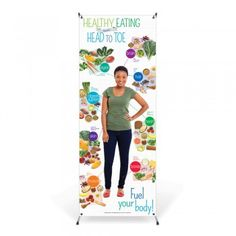 "The Adult Healthy Eating from Head to Toe Vinyl Banner with Stand shows nutritious food choices grouped together by the parts of the body they benefit most.  24"" x 63"" full color vinyl graphics with corner grommets, banner stand and canvas bag.  Easy to assemble, the banner stands 24"" x 66"" when suspended on the stand."