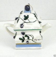 Kathy Hatch Collection Blueberry Grape Teapot Hanging String New Creative Inc