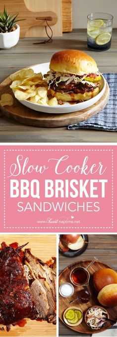 Slow Cooker BBQ Brisket Sandwiches – require two hands, napkins and a good appetite! These sandwiches couldn't be easier. Brisket is simmered in BBQ sauce in a slow cooker then topped with coleslaw for a restaurant-style meal right at home.